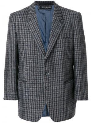 Пиджак в клетку с зазубренными лацканами Pierre Cardin Pre-Owned. Цвет: серый