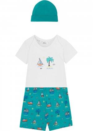 Футболка, шорты и шляпа (3 изд.) bonprix. Цвет: зеленый