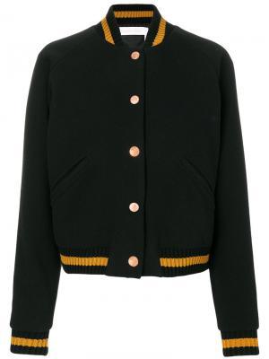 Укороченная куртка-бомбер See By Chloé. Цвет: чёрный