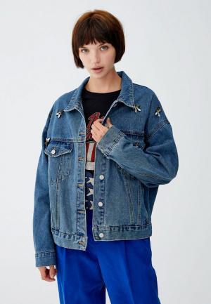 Куртка джинсовая Pull&Bear. Цвет: бирюзовый