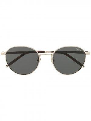 Солнцезащитные очки Stevie в круглой оправе Mulberry. Цвет: черный
