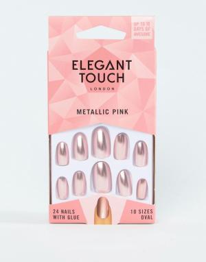 Розовые накладные ногти металлик -Медный Elegant Touch