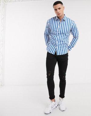 Синяя рубашка в полоску с длинными рукавами -Синий Esprit