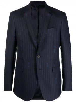 Пиджак в тонкую полоску Versace. Цвет: синий