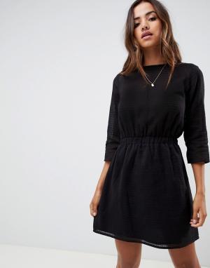 Повседневное платье мини в фактурную клетку с эластичной талией -Черный ASOS DESIGN