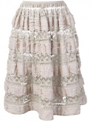 Многослойная юбка 2000-х годов с оборками Alaïa Pre-Owned. Цвет: нейтральные цвета