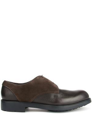 Комбинированные туфли-дерби MORESCHI. Цвет: коричневый