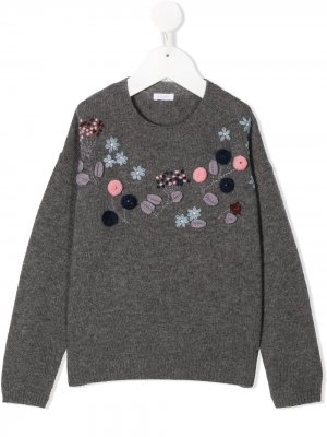 Джемпер с цветочной вышивкой Il Gufo. Цвет: серый