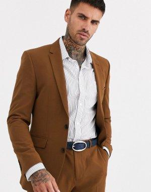 Светло-коричневый приталенный пиджак Burton Menswear