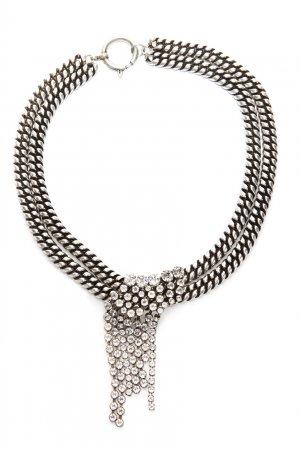 Серебристое широкое колье с кристаллами Isabel Marant. Цвет: серебряный