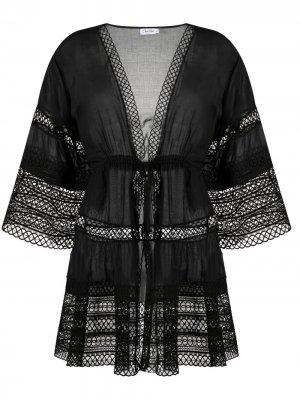 Туника с английской вышивкой Charo Ruiz Ibiza. Цвет: черный