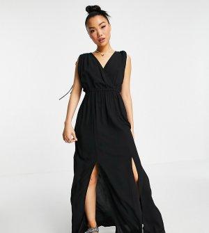 Черное пляжное платье макси из переработанных материалов со сборками Petite-Черный цвет ASOS DESIGN
