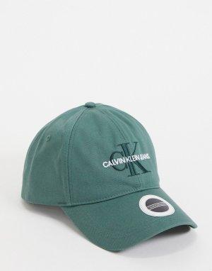 Темно-зеленая кепка с вышитым логотипом-монограммой -Зеленый цвет Calvin Klein Jeans