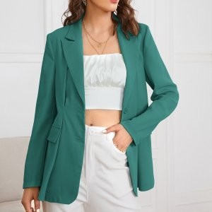 Однобортный пиджак SHEIN. Цвет: кадетский синий