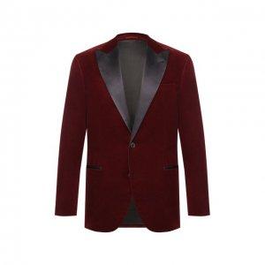 Хлопковый пиджак Brunello Cucinelli. Цвет: бордовый