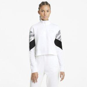 Толстовка Rebel Half-Zip Crew Neck Womens Sweater PUMA. Цвет: белый