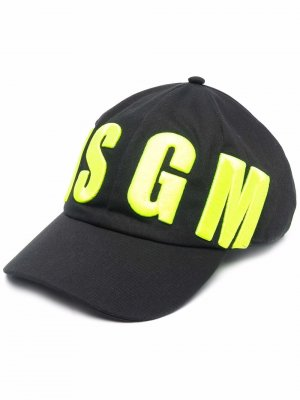 Бейсболка с вышитым логотипом MSGM Kids. Цвет: черный