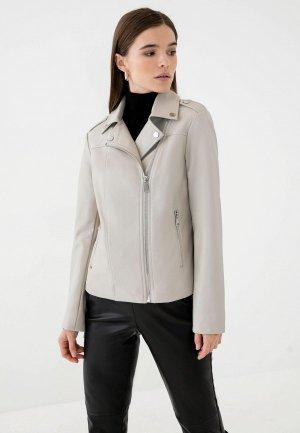 Куртка кожаная Zarina Exclusive online. Цвет: серый