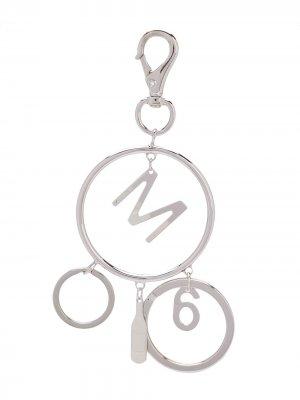 Брелок с логотипом MM6 Maison Margiela. Цвет: серебристый