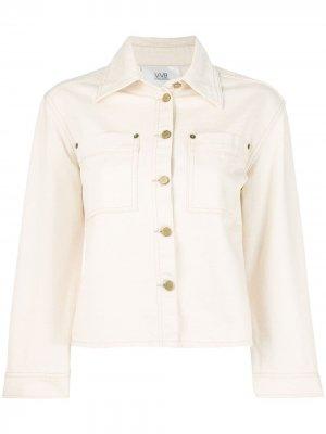 Джинсовая куртка с укороченными рукавами Victoria Beckham. Цвет: нейтральные цвета