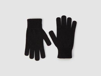 Перчатки из смесовой шерсти с добавлением кашемира Benetton. Цвет: черный