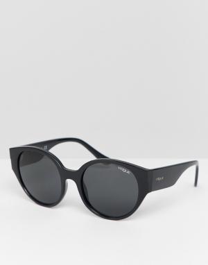 Черные солнцезащитные очки в круглой оправе Vogue Eyewear 0VO5242S. Цвет: черный