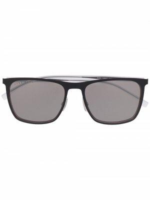 Солнцезащитные очки в прямоугольной оправе BOSS. Цвет: нейтральные цвета