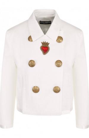 Двубортная джинсовая куртка Dolce & Gabbana. Цвет: белый
