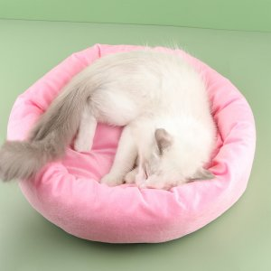 Однотонная кровать для домашних животных SHEIN. Цвет: розовые