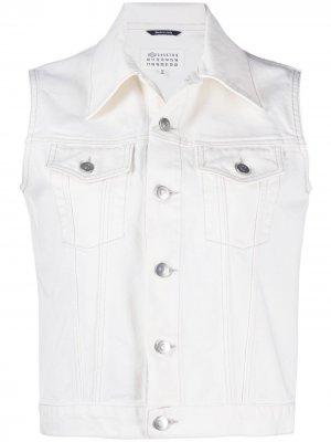 Джинсовая куртка без рукавов Maison Margiela. Цвет: белый
