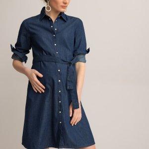 Платье-рубашка LaRedoute. Цвет: синий