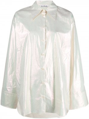 Рубашка с эффектом металлик Acne Studios. Цвет: нейтральные цвета