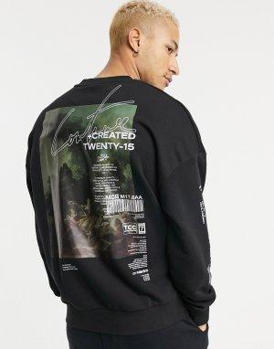 Черный oversized-свитшот с принтом картины -Черный цвет The Couture Club
