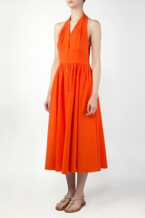 Оранжевое платье из хлопка Michael Kors. Цвет: оранжевый