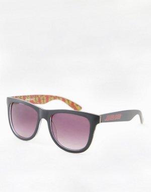 Черные классические солнцезащитные очки с разноцветными дужками -Черный цвет Santa Cruz