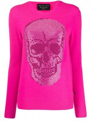 Пуловер с декором Skull Philipp Plein. Цвет: розовый