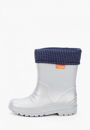 Резиновые сапоги Demar. Цвет: серый