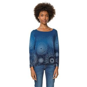 Пуловер с круглым вырезом, из тонкого трикотажа DESIGUAL. Цвет: рисунок темно-синий