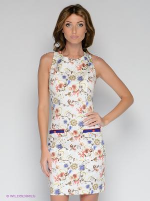 Платье BOVONA. Цвет: молочный, коралловый, коричневый, синий