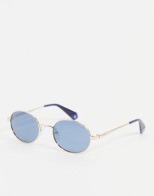 Солнцезащитные очки с миниатюрной круглой оправой в стиле унисекс -Голубой Polaroid