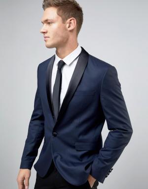Пиджак-смокинг слим Premium Jack & Jones. Цвет: темно-синий