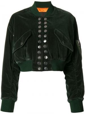 Укороченная куртка-бомбер Alexander Wang. Цвет: зеленый