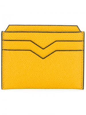 Фактурная визитница Valextra. Цвет: жёлтый и оранжевый