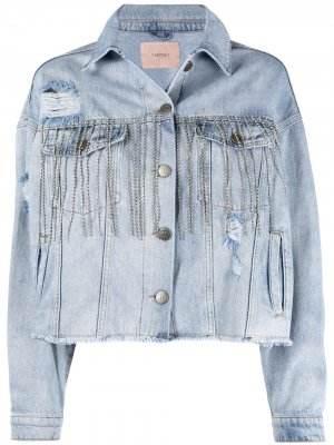 Джинсовая куртка с кристаллами TWINSET. Цвет: синий