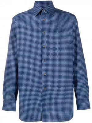 Рубашка с геометричным принтом Brioni. Цвет: синий