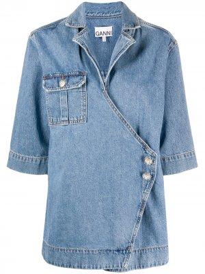 Куртка с запахом GANNI. Цвет: синий