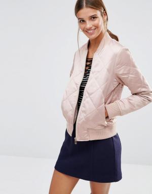Дутая стеганая куртка-пилот New Look. Цвет: розовый