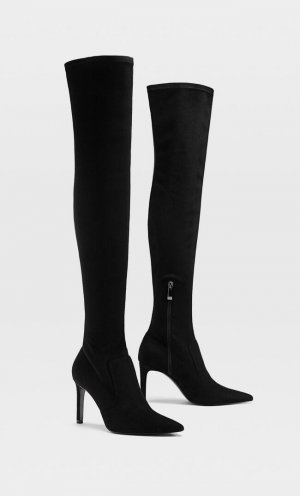 Высокие Ботфорты На Каблуке Женская Коллекция Черный 38 Stradivarius. Цвет: черный