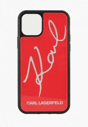 Чехол для iPhone Karl Lagerfeld 11 Pro, Double Layer signature Hard Glass Red. Цвет: красный