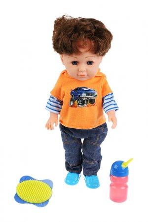 Кукла Никита с аксессуарами Карапуз. Цвет: оранжевый